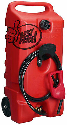 Rolling Wheel Gas Can Portable Fuel Fluid Transfer Pump 14-gallon Tank 10ft Hose