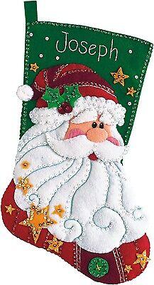 Dimensions Feltworks Sequined Santa Stocking Felt Applique Kit, New