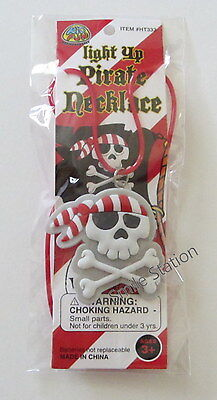 12 Flashing Light Up Pirate Skull Necklaces Jolly Roger Kid Birthday Party Favor - Light Up Necklaces