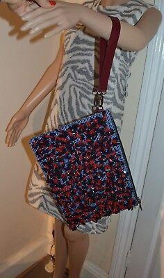 Designer Handtasche Nylon (Mother Of Pearl London Designer Handtasche Clutch Neu Blumenmuster Verziert Blau)
