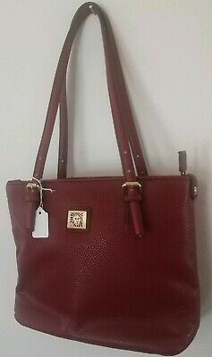 Anne Klein Red Shoulder Bag Purse double adjustable strap zip close