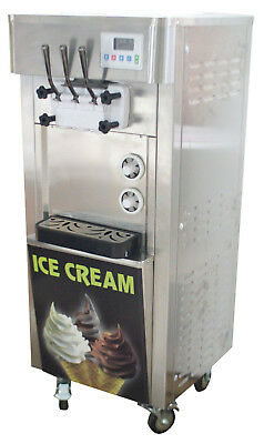 Commercial 110v 3flavor Soft Ice Cream Making Machine 20-30lh Standing Type
