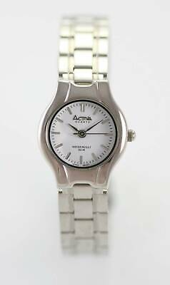 Activa Watch Womens White Stainless Steel Silver Water Resistant 30m Quartz