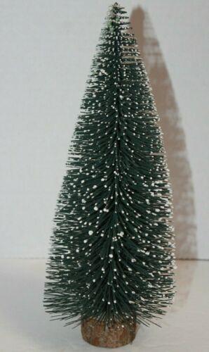 Snow Covered Bottle Brush Christmas Tree Wooden Base