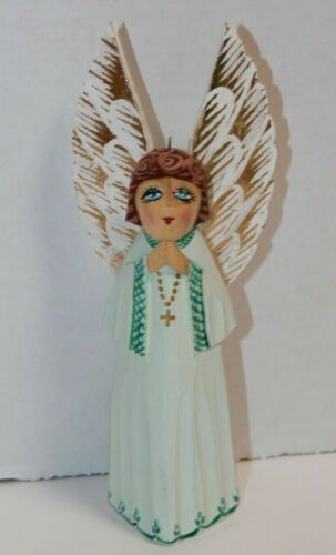 Handmade Russian Style Wooden Angel Christmas Ornament Artist Signed