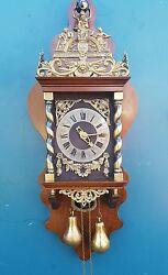 Huge Dutch Zaanse Wuba Warmink nutwood   wall clock, nice. ( Biggest model )