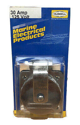 New Hubbell Wiring Ground Ss Flanged Locking Inletmarine30a 125v Hbl303ss
