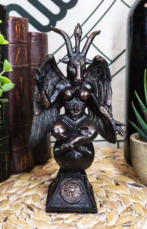 """6.5""""H Church of Satan Sabbatic Goat Idol Baphomet Bronze Resin Statue Horned God"""