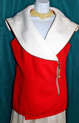 VTG R B DESIGN GROUP Orange Blouse Anchor Zip Pull Sz 12 White Collar Lined Vest