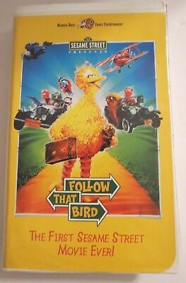 123~SESAME STREET ~ FOLLOW THAT BIRD ~ VHS ~ 1ST SESAME STREET MOVIE ~ CLAMSHELL