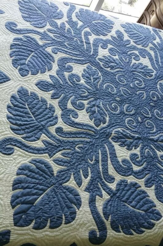 Hawaiian Quilt K/Q BEDSPREAD 100% hand quilted/hand appliquéd 2 shams MONSTERA