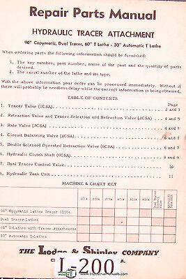 Lodge Shipley 60 T 30 T Copymatic Tracer Lathe Repair Parts Manual 1956