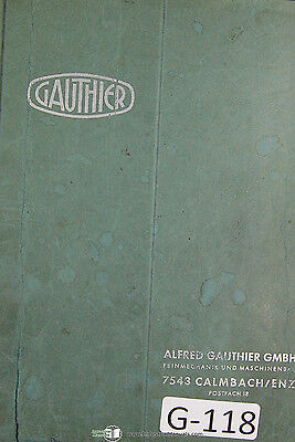Gauthier W1 Gear Hobbing German Operation Parts Manual 1979