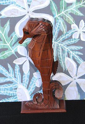 Vintage JOHN OYA HAWAIIAN HANDCARVED SEAHORSE PERFUME HOLDER MILO WOOD HAWAII