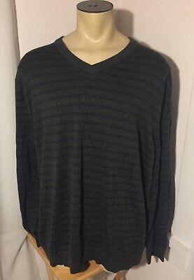 Nautica Mens Green Striped Long Sleeve V-Neck Sweater 4XLT Tall