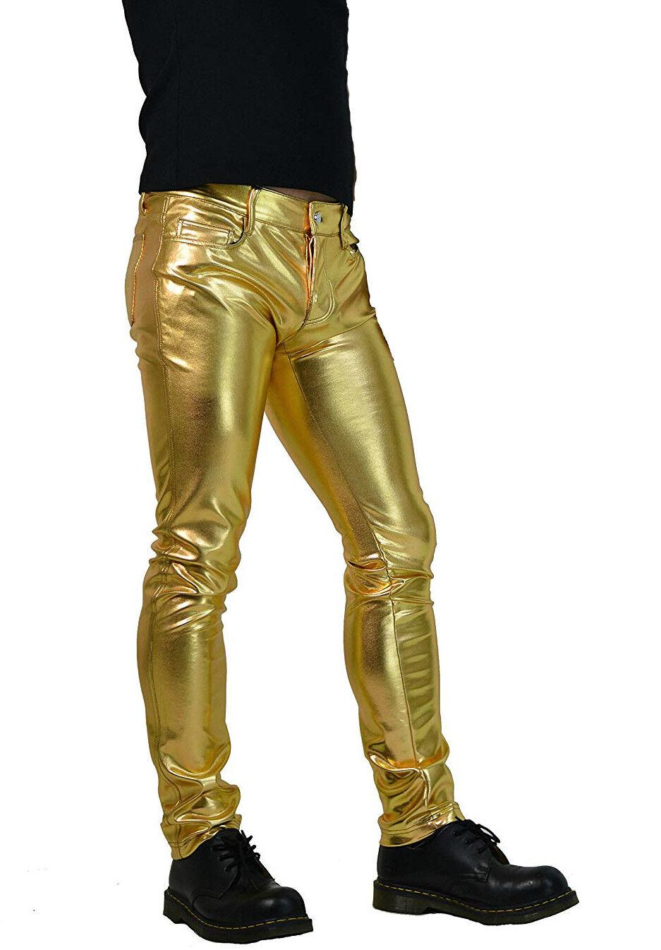 HORSE HORN GOLD TIGHT FIT BURNER FETISH PVC VINYL ROCKER RAVE SKINNY JEANS PANTS Clothing, Shoes & Accessories