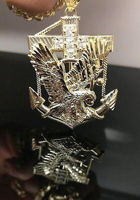 Eagle Anchor 10k Yellow Gold Charm Pendent Men Diamond Cut cross Jesus