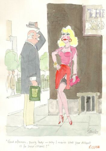 ORIGINAL PLAYBOY COLOR CARTOON ART BY SMILBY FRANCIS WILFORD-SMITH PROSTITUTE
