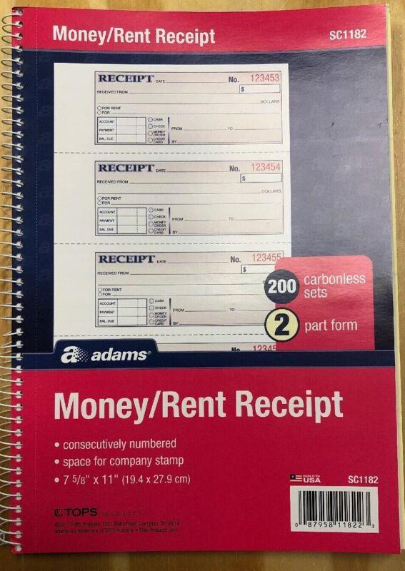 Adams Money and Rent Receipt Book, 200 Sets per Book, (SC1182)