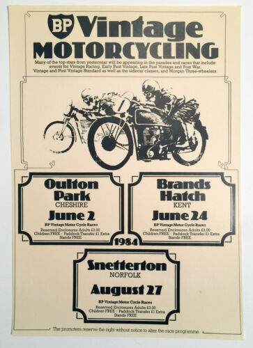 1984 VINTAGE MOTORCYCLING  RACE POSTER, BRANDS HATCH, SNETTERTON, MOTORCYCLE
