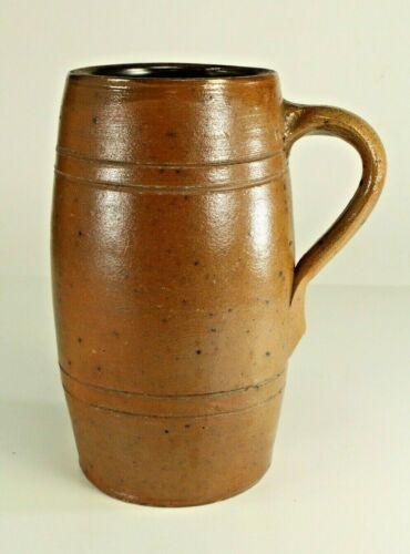 """= Antique c. 1840-50 Stoneware Barrel Shaped Ale Mug, Large 7.5""""  # 18"""