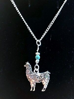 Lucky Llama Silver Turquoise Necklace Set, 18