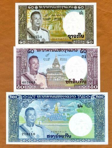 SET Lao / Laos, Kingdom, 20;50;200 Kip, ND (1963), P-11-12-13, UNC