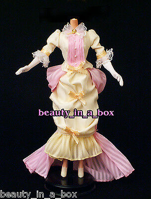 1800's Victorian Period Ensemble Pink and Cream Dress Fashion for Barbie Doll