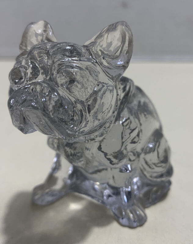 Vintage Solid Frosted Glass Bulldog Dog 🐕 Animal Figurine Indiana