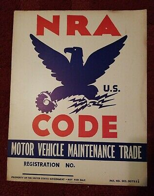 c.1933 National Recovery Act NRA Blue Eagle Window Card Poster Vintage