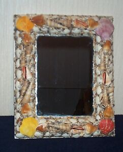 Handmade Sea Shell w/ Pearls Nautical Hanging Mirror On Board 16