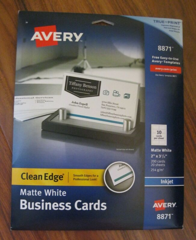 Avery 8871 Matte White Ink Jet Printer Business Cards 200 Count