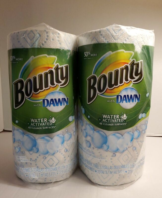 2 Bounty With Dawn Water Activated Paper Towels