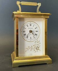Brass Bulova   Desk Mantel Carriage Clock  Vintage Rare Collectable