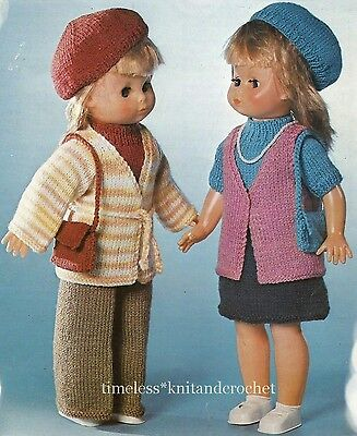 VINTAGE KNITTING PATTERN FOR 2 SETS OF DOLL CLOTHES to fit 18 inch (46 cm)  DOLL