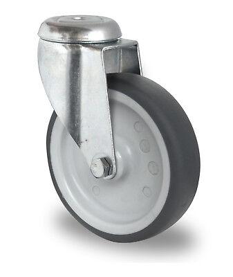 Apparaterolle Gummi grau spurlos 125 mm Rückenloch ohne Feststeller Rolle
