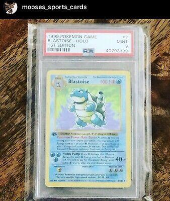 1999 Pokémon 1st Edition Holo Blastoise 2/102 PSA 9 Base Set Shadowless RARE