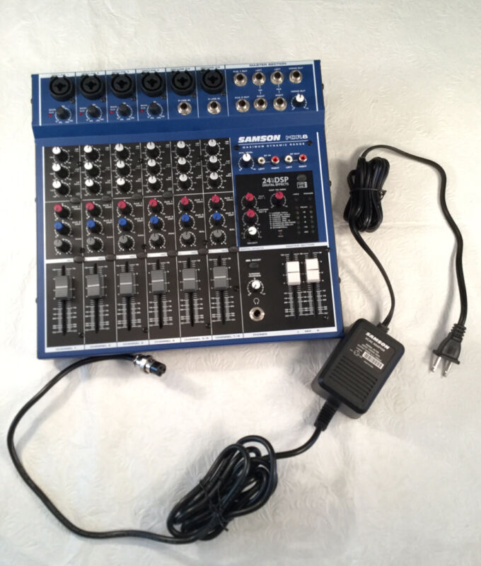🔴 SAMSON MDR8 MDR 8 Channel Audio Mixer with AC Adapter