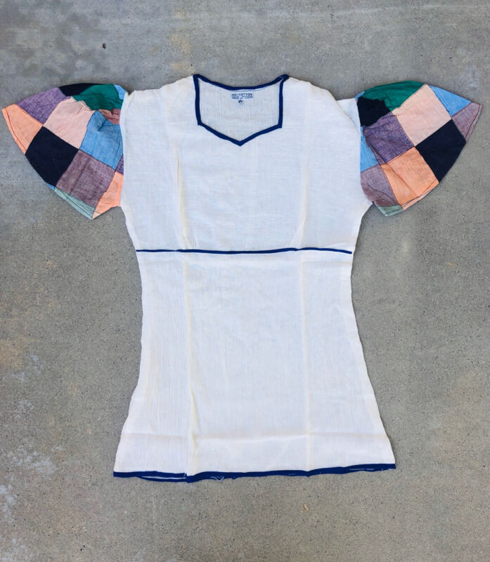 Vintage V Neck Patchwork Tunic Blouse Top Angel sleeves hand Loome shirt Size M