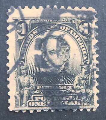 USED 1902 - $1 Perf 12 Series  #311 $1 black  (Margins)  Very Nice & Clean $1
