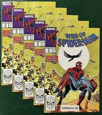 5 LOT WEB OF SPIDER-MAN #45 VICTIMS OF THE VULTURE 1988 NM](Spider Victim)
