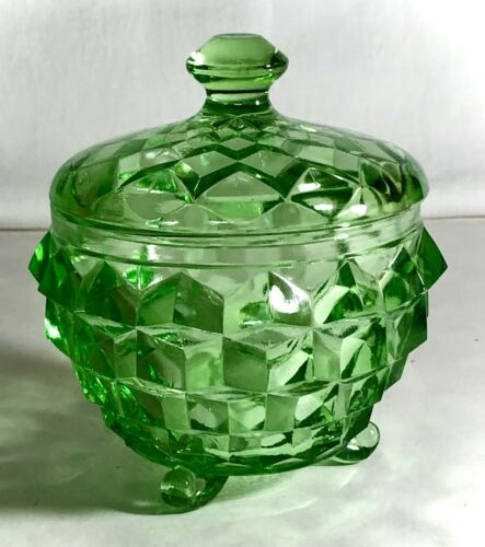 """Jeannette Green Cube """"Cubist"""" 3 Legs Powder Jar With Cover"""