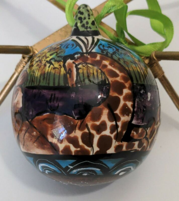 Penzo Zimbabwe Hand Painted Signed Pottery Christmas Ornament  Zebra Giraffes