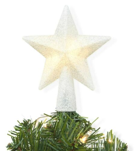 "Wondershop 4"" Mini Christmas LED Lit Glitter Silver Star Tree Topper NEW"