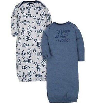GERBER BABY BOY Organic Cotton Lap Shoulder Gowns 2-Pack - ROCKET / STARS - (Baby Boys Blue Cotton)