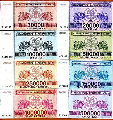 Georgia Set - SET Georgia, 20000 to 1000000 Laris, 8 banknotes Complete 1994 Issue, UNC