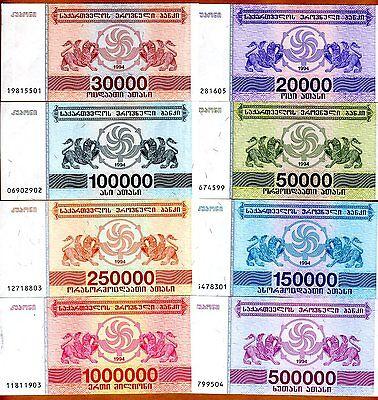 SET Georgia, 20000 to 1000000 Laris, 8 banknotes Complete 1994 Issue, (Georgia Set)