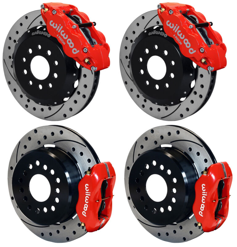 """Wilwood Disc Brake Kit,2005-newer Ford Mustang,13""""/12"""" Drilled,red Calipers"""