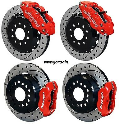 "Wilwood Disc Brake Kit ,2005-14 Ford Mustang,13""/12"" Drilled Rotors,Red Calipers"