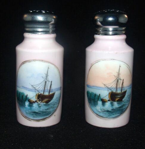 ANTIQUE VICTORIAN PORCELAIN SALT AND PEPPER SHAKERS SHIP BOAT MARITIME